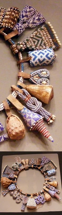 Africa | Details from a belt from the Kuba people of DR Congo | Glass beads, shells, leather, natural fiber