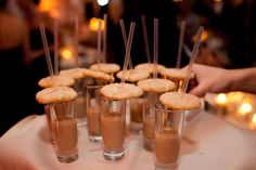 Yummy late night treat - Snickerdoodle cookies on top of a shot of chocolate milk. Great for winter weddings. Wedding reception at the Austin Country Club | Photography by Jenny DeMarco Photography www.jennydemarco.com | Liv By Design