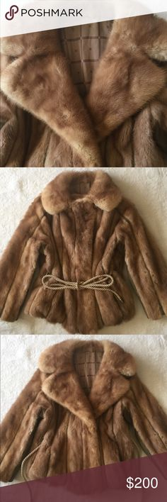 Mink Fur Jacket MINK Fur Jacket   • Leather Detail  • Removable Rope Belt, can be worn as pictured or on outside with belt loops  • No size label, best fits size 14-16 • Notched Collar  • 2 outside pockets  • Monogrammed inside (see photo) • 1 Button Closure at neck (see photos) • Great vintage condition Jackets & Coats