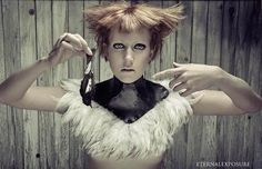 Nyx Leather Posture Collar with Feather accents