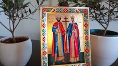 Saints Constantine and Helen (Russian Style icon - SF Series) Russian Style, Russian Fashion, St Constantine, Gold Background, Religious Icons, Art Store, Christianity, Saints, Carving
