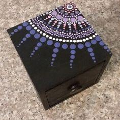 Handmade Jewelry by DeborahleedesignsCo Painted Wooden Boxes, Painted Jewelry Boxes, Rock Painting Patterns, Dot Art Painting, Mandala Artwork, Mandala Painting, Mandala Dots, Mandala Design, Childrens Jewellery Box