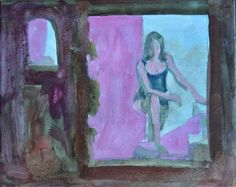 Woman behind the window. Red Light District Amsterdam Oil on canvas 25 x 30 BarbaraMascini.nl