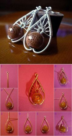 Diy earring #DIY #Earrings the technique is really cool with the wire folded and thru the bead.