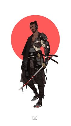 ArtStation - Neo Samurai series 2 - Yasuke, by Manilyn Toledana Character Concept, Character Art, Concept Art, Urban Samurai, Ronin Samurai, Afro Samurai, Cyberpunk Kunst, Arte Ninja, Samurai Artwork