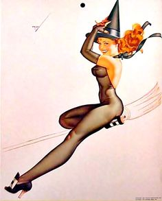 Vintage Halloween Pin-Up Why don't Witches wear panties? So they can get a better grip on their broom! Ba dum pum...