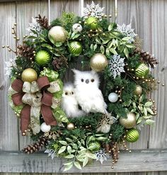 Winter Owl Christmas Wreath Lime Green Gold Brown White Snow Owl Rustic | eBay