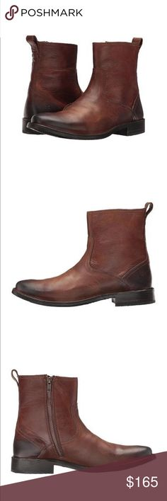 Frye Oliver Boot Give your wardrobe a style boost with these sleek and sophisticated boots. Rich hand-worked leather offers an outstanding look and feel. Side zip closure provides an easy on and off. Smooth leather lining. Cushioned leather insole for lasting comfort. Durable leather outsole with rubber for added traction. Frye Shoes Boots