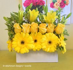 Yellow Gerber Daisies, Roses and Asiatic Lilies, Dr Delphinium