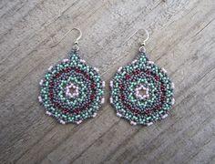 Rainy Day Lace Mandala Earrings  Huichol Style  by Elewmompittseh