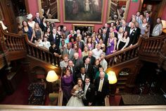 wedding party on grand staircase