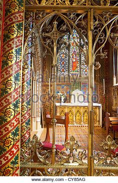 St Giles church, Cheadle, Staffordshire (Chapel of the Blessed Sacrament), designed in the Gothic Revival style - Stock Image
