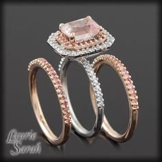 Radiant Cut Pink Sapphire and Diamond Three Ring Wedding Set - LS698 on Etsy, $4,202.75 AUD