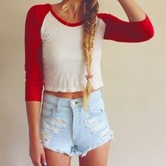 Cute, Casual, Summer Outfit - Red & White + Light Denim + Fishtail