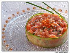 recette gastronomique : Tartare de saumon cru mariné au citron vert et œufs de saumon