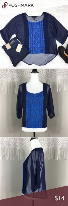 Jessica Simpson Lace Front Blouse Jessica Simpson blue sheer lace front Blouse. Size medium. 21' front length 25' back length, and 22' bust. GUC with no major flaws. ❌No trades ❌ Modeling ❌No PayPal or off Posh transactions ❤️ I 💕Bundles ❤️Reasonable Offers PLEASE ❤️ Jessica Simpson Tops Blouses