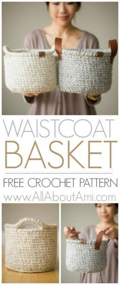 Waistcoat Crochet Basket: Crochet this sturdy basket using the beautiful waistcoat stitch also known as center single crochet! Add leather or crochet handles! These luxurious and practical baskets are a great way to add a touch of handmade and crochet to your home! Free pattern
