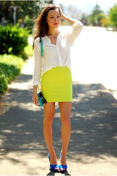 "Chartreuse Forever 21 Skirts, Blue Zara Heels, White Old Navy Tops | ""Lime Crime"" by oahulover714"