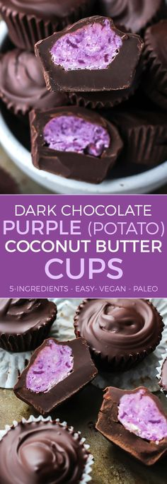 5-Ingredient Purple Potato Coconut Butter Cups! These homemade cups use beautiful purple sweet potatoes for a fun, colorful center anyone will love. They're super easy to make, vegan, gluten-free and paleo.