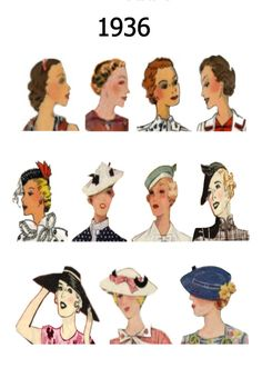 .. 1937, 1938 and 1939 into an A4 page of images of hairstyles and hats