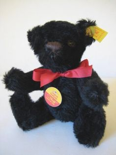 Your place to buy and sell all things handmade Black Teddy Bear, Steiff Teddy Bear, Ear Tag, Etsy App, Bears, Miniatures, The Originals, Shop, Animals