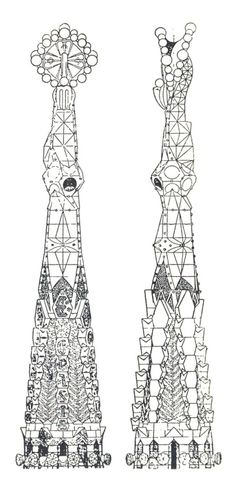 Antonio Gaudi, Elevation of a Pinnacle of the Church of the Sagrada Familia, Barcelona, Spain, 1920's