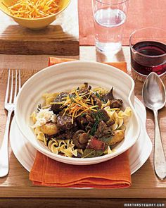 Stout and Beef Stew Served Over Egg Noodles Recipe