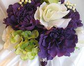 Wedding bouquet Bridal flowers PURPLE GREEN ORCHID 10 pc package Bridesmaids boutonnieres Corsages. $120.00, via Etsy.