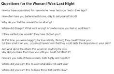 Questions For the Woman I Was Last Night, Warsan Shire