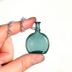 teal bottle necklace hand blown glass by kivaford blown glass bottle pendant