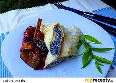 """Palačinky s """"šimlovou"""" náplní a teplé švestky se skořicí recept - TopRecepty.cz French Toast, Breakfast, Breakfast Cafe"""