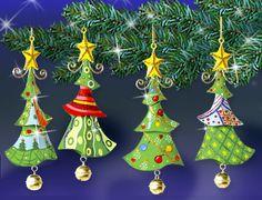 """Weihnachtsbaumschmuck aus Metall """"Tannenbaum"""" 4er-Set"""