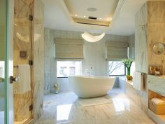 Neutral-colored marble bathroom tiles