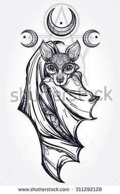 Bat Tattoo Stock Vectors & Vector Clip Art | Shutterstock #AwesomeTattooIdeas