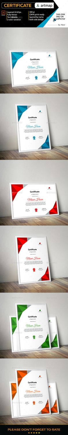 Corporate Creative Certificate Design Template - Certificates Stationery Template Vector EPS, AI Illustrator. Download here: https://graphicriver.net/item/certificate/17707617?ref=yinkira