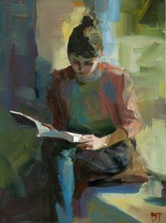 """Window Seat by Darren Thompson Oil painting """" Window Seat is part of a series of depicting the female figure reading. I use subdued colors and loose brush … """""""