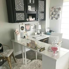 My new L shaped Ikea Desk Reveal Nice 43 Extraordinary Small Home Office Design Ideas With Traditional Themes. Guest Room Office, Home Office Space, Bedroom Office, Home Office Desks, Office Furniture, Small Office Spaces, Home Offices, Home Office White Desk, Small Office Decor