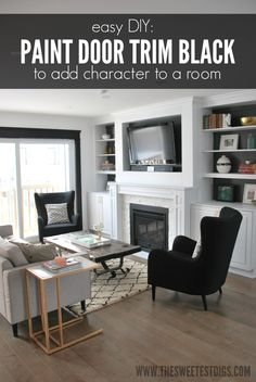An easy DIY project to add a bunch of character to a room? Paint the door trim black!! So chic and looks amazing in a mostly black and white space - the sweetest digs