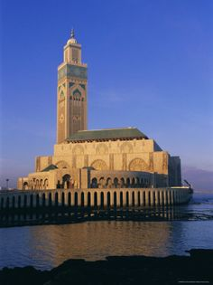 The Hassan ll Mosque overlooks the Atlantic Ocean in Casablanca, Morocco. It is the 7th largest mosque in the world but has the tallest minaret in the world.