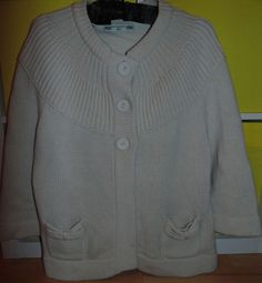 WARM LOVELY CARDIGAN BY CREW CLOTHING UK 12 14 IVORY LAMBSWOOL AND CASHMERE