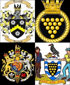 Cornish Heraldry, Cornish Coats of Arms. Bottom left Prince of Wales/ Duke of Cornwall Coat of Arms.