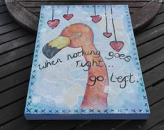 Original one of a kind funky flamingo inspired mixed media canvas perfect for nursery office and home