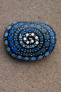 Blue Swirl Large Dots Painted Rock by MurphysNutHouse on Etsy