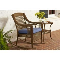 Hampton Bay Spring Haven Brown All-Weather Wicker Patio Rocking Chair with Sky Cushion-66-20312 - The Home Depot