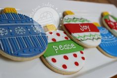 Christmas Sugar Cookies with Icing   For the blue one on the left: Flood the ornament with blue royal icing ...