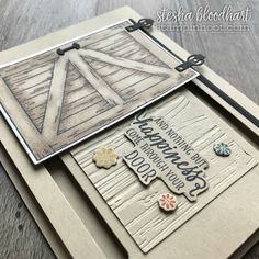 Barn Door Bundle by Stampin' Up! from the 2018 Occasions Catalog for by Stesha Bloodhart, Stampin' Hoot! Barn Door Sliders, Housewarming Card, Slider Cards, Window Cards, Stampin Up Cards, Men's Cards, Butterfly Cards, Barn Door Hardware, Interior Barn Doors