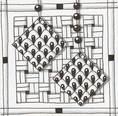 Squares of Tagh hang from a beaded string, drawn by Sara Belmont-Kleingeld.
