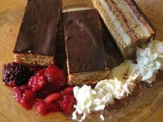 Recipe for medove rezy, a delicious Slovak treat consisting of layers of cocoa and honey dough filled with custard and jam and topped with chocolate. Slovak Recipes, Czech Recipes, Recipe Database, Polish Recipes, Polish Food, Easy Pasta Recipes, Christmas Baking, Christmas Holiday, Convenience Food