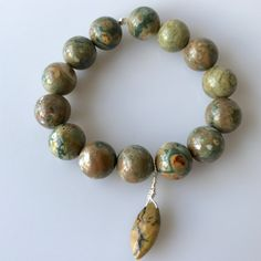 Large Agate Beads with Jasper Drop Stretchy Bracelet