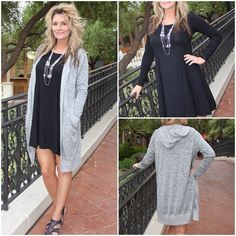 What a great little outfit! The dress is so versatile. We've paired it with a must have hooded cardi.  || Dress 091815-2 $32 || Cardi 091815-3 $32 || Call our Boutique 702-906-1723 to order, Click the Shop Now button at the top of our Facebook page or use our easy jot form located in our Instagram Bio #apricotlanetownsquare #newarrivals #fallfashion #cardi